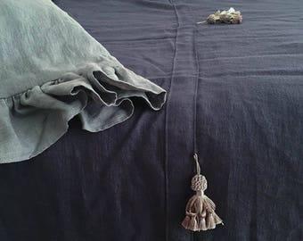 Charcoal Gray Linen Bed Throw/ Linen Blanket/ Bedspread/ Tassel decor/ Bohemian Style
