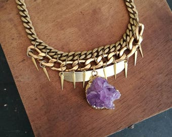 Solid brass & Amethyst necklace