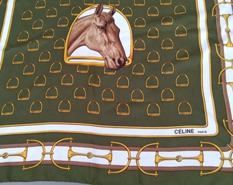 vintage Authentic Celine Paris Scarf silk scarf chiffon square hand Rolled  horse royal made antique green emerad gray Large scarf cavalier