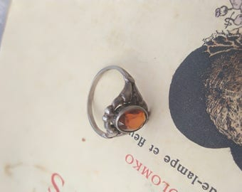 French large antique sterling silver ring faceted art nouveau  ruby red glass cabochon  ring lucky stone ring size 8.5 ring