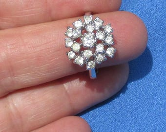 Retro Rhinestone Cluster Ring Marked 18 Kt HGE Uncas Mark