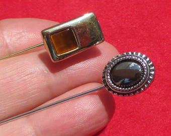 Lot Of Retro Stick Pins Hematite Tiger Eye