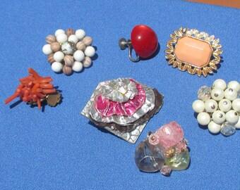 Lot Of Assorted Vintage  Beaded Single Odd Earrings