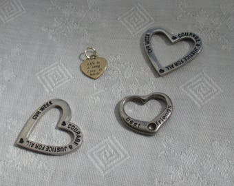 Lot Of Heart Shaped Tokens Pendants Charms Inspirational