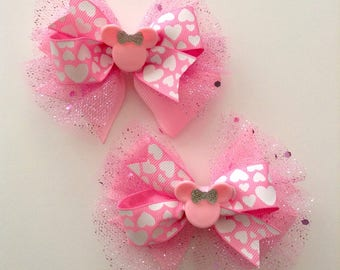 Pink  Minnie Mouse , Pink Bows, Set of 2 Bows, Piggy Tails Bows.