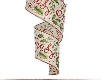 """Christmas Ribbon, MERRY CHRISTMAS HOLLY, 2.5"""" x 10Yds, Wired, Holiday Ribbon, Wreath Supply, Wreath, Holiday Ribbon, 1507, P4A"""