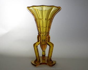 1930s Art Deco Bohemian amber glass vase