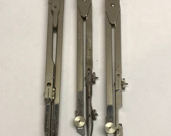 1960's stainless steel drafting instrument lot 3 compasses.