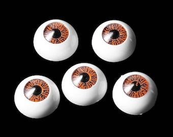 """Plastic Toy Doll Making Eyes - Craft Eyes -  Round White & Orange Eyes - 16 mm  5/8"""" - 10 Eyes"""
