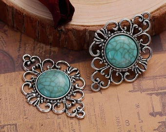 Turquoise And Silver Tone Pendant Connectors - 2 Large Carved Lace Edged Pendants