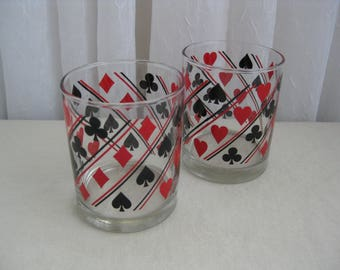 Set of Two Vintage Playing Card Glass Tumblers Libbey