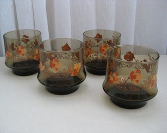 Set of Four Vintage Impromptu Orange Flower Brown Glass Short Tumblers Libbey