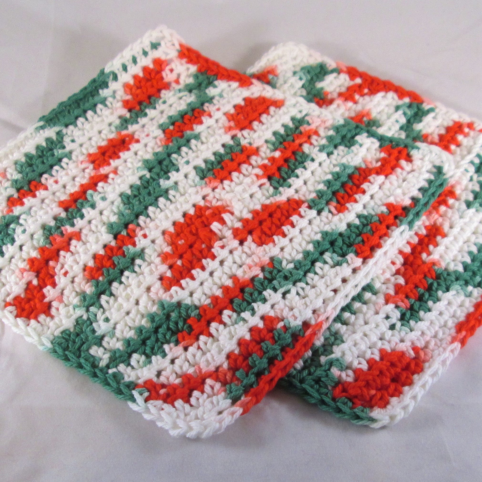 Christmas Cotton Washcloth, Red and Green Crochet Washcloth, Holiday ...