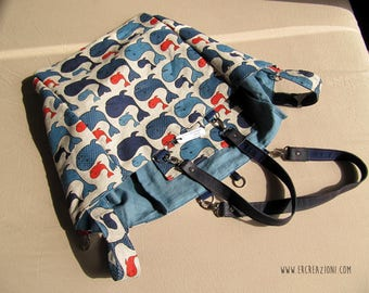 Fancy purse with blue and red whales - double shoulder strap.