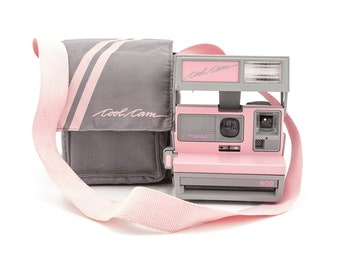 Polaroid 600 Cool Cam - Pink and Grey with Soft Camera Case - Tested and Working