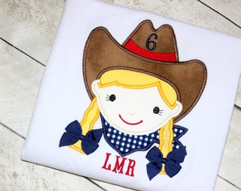 Cowgirl birthday shirt only Girls rodeo shirt Western wear for girls Little girl rodeo birthday shirt Red navy and yellow size 2t 3t 4t 5 6
