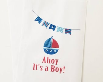 ON SALE Ahoy it's a boy Shower favor bags Nautical Baby Shower Anchor Candy Buffet Bags Candy Buffet Favor Bags