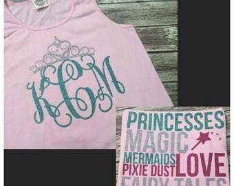 SHOP SALE Castle Princess Tank - Minnie Ears Monogram - Blossom Shirt and Mint  Glitter Vinyl - Comfort Color - Disney Shirt - Castle Monogr