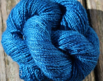 Peacock Blue 100% Suri Hand-dyed Fingering Weight Yarn