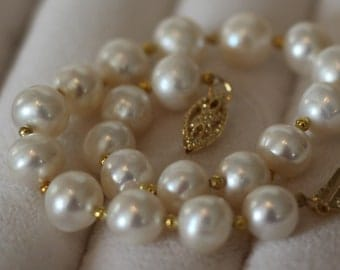 Pearl and 14K Gold Beaded Bracelet