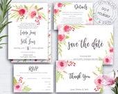Rose Wedding Invite Suite, Wedding Set, Printable, Editable, Botanical Wedding, Shabby Chic, RSVP Card, Floral Wedding Set, Watercolour