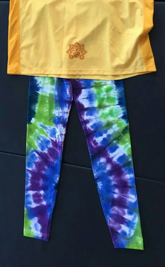 Tie Dye Leggings/Hand Dyed/Womens Tie Dye/Navy, Lime, Purple & Peacock Blue/Eco-Friendly Dying