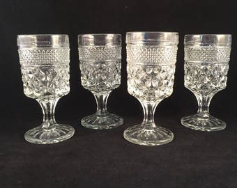Set of 4 Wexford Stemmed Glasses, Goblets, Drinking Glasses 5 oz.