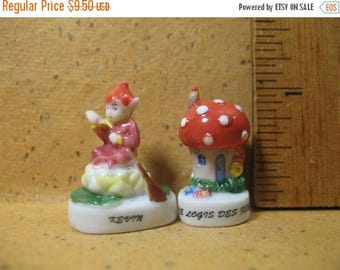 SALE Gnome FAIRY Pixie Fairies Sprite Gnomes - French Feve Feves Figurines Porcelain Miniature Figurine A113