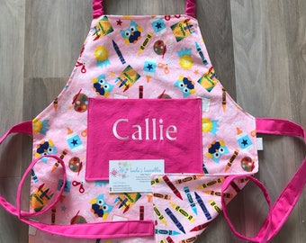 Toddler crayon art painting personalized apron