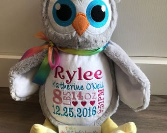 NEW! Little Elska owl with name or birth stats