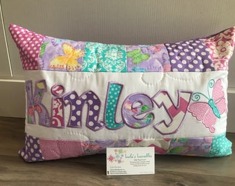 Butterfly sparkle pillow case with name. 12x18 inch