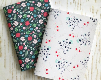 Set of 2 small notebooks // Pretty floral patterns // 48 lined pages