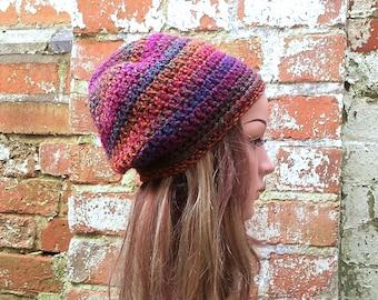 Colourful beanie. Slouch beanie . Crochet beanie . Festival beanie