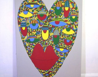 24 x 36 Geometric Heart Face Painting