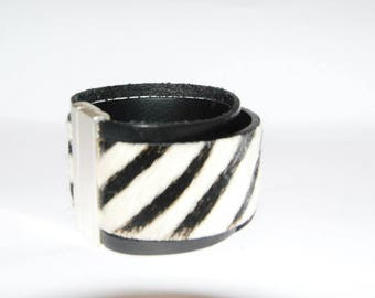 black and Zebra hair leather cuff