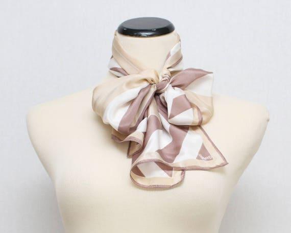 Vintage Beige Geometric Vera Neumann Silk Scarf