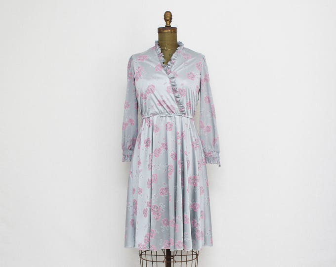 Vintage 1970s Grey Floral Print Wrap Dress - Size Medium