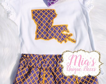 Love Louisiana, Purple and Gold, Toddler Short Set
