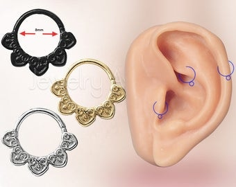 "18G Tribal Helix Earring, Tragus Earring, 5/16"" (8mm) Nose Hoop Ring, Rook Ring, Aztec Design Nose Ring, Body Jewelry, Titanium Anodized"