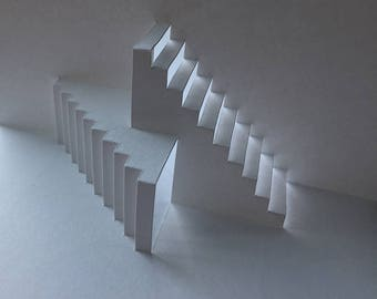 Pop-Up Double Stairs Greeting Card (Hand-cut)