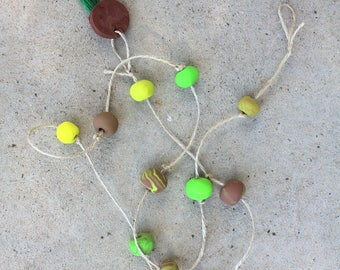 Clay hanging decor green, yellow & brown