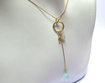 pendant - Chalcedony pendant -Gold Necklace - 18K Gold Necklace - Chalcedony  Necklace - Seeds Collection - Free Shipping!!!