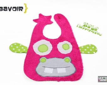 Hippo bib pink terry fabrics and cotton practical closure