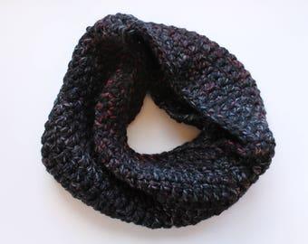 black infinity scarf, black cowl scarf, black crochet scarf, black wool scarf, black knit scarf, crochet scarf, knit scarf, winter scarf