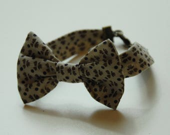 Bracelet 23 beige and Brown floral fabric bow