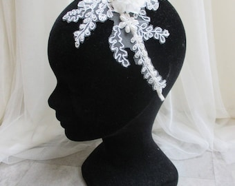 Bridal lace beaded with fabric flowers headband