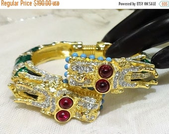 ON SALE Vintage KJL (Kenneth J Lane)  Ruby Red Cabochon, Green Enamel and Rhinestone Double Headed Dragon Bypass Bracelet