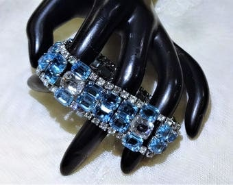 Gorgeous Vintage Aqua and Clear Coloured Rhinestone Bracelet