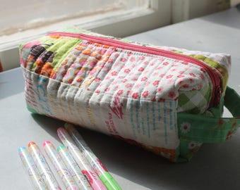 Patchwork boxy pouch