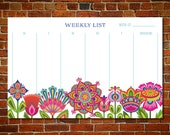 Colorful Cheery Boho Blossom Floral Weekly Planner page notepad list to keep track of your activities and schedule